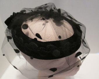 Vintage Black Pillbox Hat - Black Netting with Black Dots.