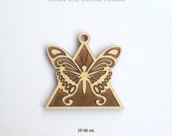 Beautiful laser engraved Butterfly wood pendant / Butterfly jewelry / Wood butterfly / Wedding decor / Laser cut wood / Butterfly pendant