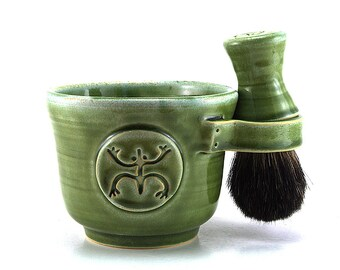 Shaving Set with a Green Coqui Frog, Includes a Black Badger Hair Brush and Soap, Puerto Rico Pottery Gift Made to Order