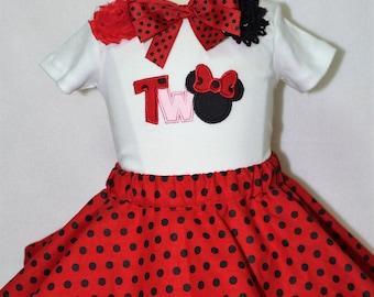 Minnie Mouse,Second birthday, 2nd birthday, birthday, girl birthday, Disney, girl clothes, girl t shirt, tshirt, t-shirt, disney shirt