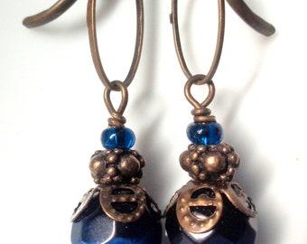 Blue Earrings Bronze Earrings, Blue Dangle Earrings, Blue Jewelry, Bridesmaid Earrings Cats Eye Earrings Lever back Earrings