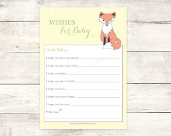 wishes for baby shower printable baby fox DIY yellow polka dots woodland card cute baby shower digital games - INSTANT DOWNLOAD