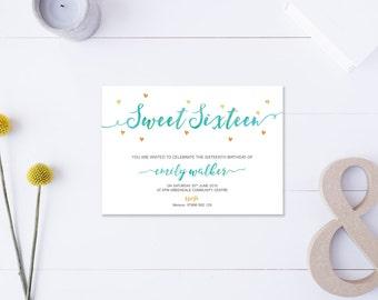 Sweet Sixteen // Invitation // Metallic Gold & Turquoise // DIY Printable File // Digital PDF File
