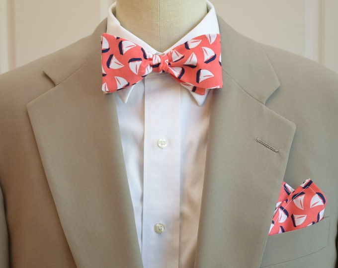 Men's Pocket Square and Bow Tie set, coral, navy and white sail boats, wedding party wear, groomsmen gift, groom bow tie set, men's gift set