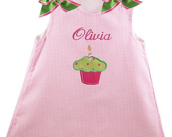 Birthday Dress Green / Pink Bows Personalized