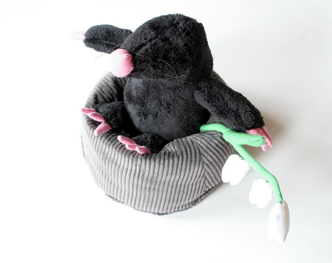 Black Mole Plushie in molehill, stuffed toy for children Reserved for Sara
