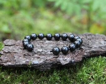 Beaded Shungite Bracelet for EMF protection, energy healing, purifying, Shungite jewelry, personal power, 9 mm, beads