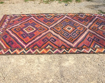 Huge Vintage Hand Woven Kilim Flat Weave Large 5x10 Wool Rug as found