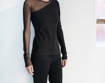 NEW Long-Sleeve Blouse / Black Blouse  / Mesh Blouse / Formal Top / Extravagant Blouse / Party Top / Marcellamoda - MB1047
