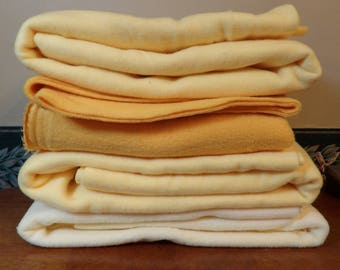 Lot of 5 Pieces of Fleece Yellows New and Unwashed F49