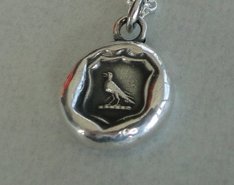 knowledge, raven wax seal jewelry, sterling silver, necklace pendant