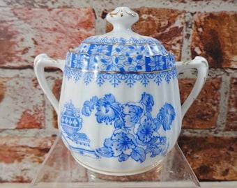 Vintage Sugar bowl Echt Tuppack China Blue blau Tiefenfurt