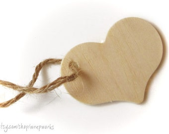 "60  Natural Wood Heart Gift Tags, 2 5/16"" Wide Unfinished Wooden Hearts"