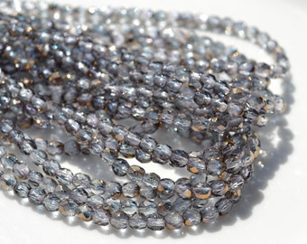 Thunder and Lightening Grey 4mm Faceted Fire Polish Czech GLass Beads  50