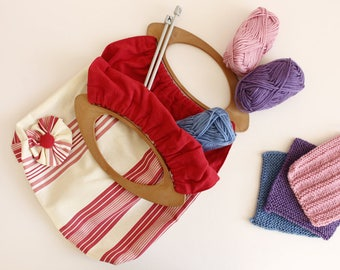 Red and Cream Stripe Cotton Tote Bag Ideal For Craft Projects
