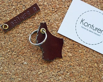 Luxembourg / Luxembourg Keychain - key chain, leather, Brown