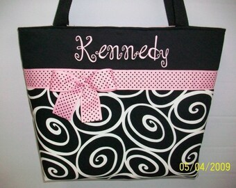 Ebony Ironwork  SWIRLS ... Baby PINK Accents ...  Personalized ... Tote ... DIAPER Bag