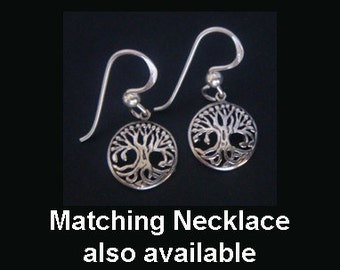 Tree of Life Earrings: Celtic Influence Sterling Silver Tree of Life Earrings - Matching Tree of Life Necklace Available for Earrings 005