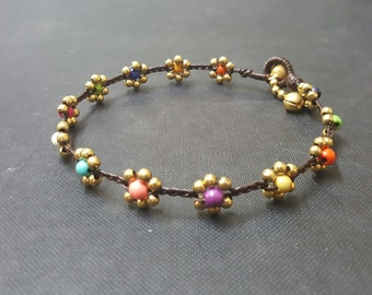 Rainbow  Brass Flower  Anklet