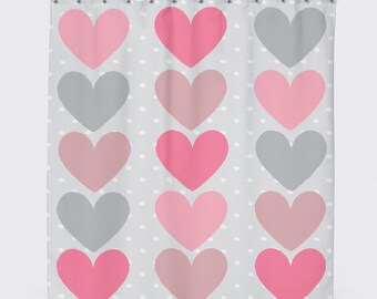 Colorful Shower Curtain, Shower Curtain Gray, Pattern Shower Curtain, Shower Art, Love Shower Curtain, Girls Shower Curtain, Bath Curtain