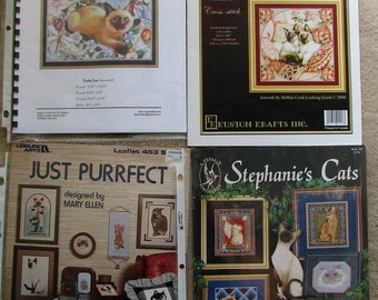 4 Siamese Cat Cross Stitch/Needlepoint Leaflets/Charts