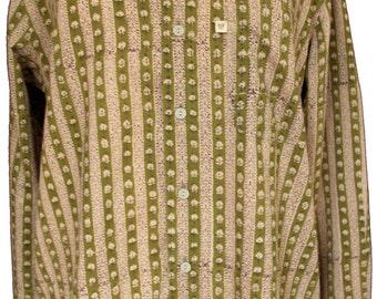 Shirt - Olive stripe - 100% cotton - long sleeves