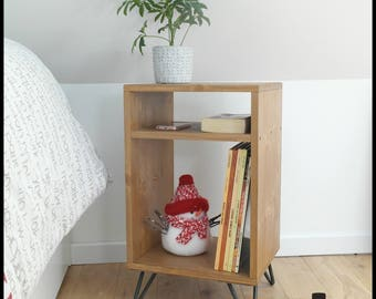 High wooden bedside table with legs in raw metal (hairpin leg)