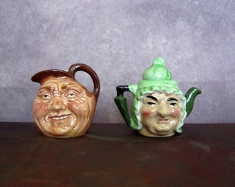 Tiny Teapot and Pitcher with Faces