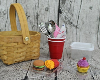 """Picnic Basket for 18"""" Doll Picnic Lunch"""