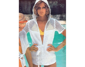 Hooded Top Crochet Pattern Beach Cover Up, Flower Trimmed Hoodie Jacket Women Filet Crochet Mesh Top PDF Instant Download Size 6 to 16- C175