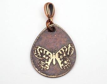 Copper butterfly pendant, flat etched copper teardrop jewelry, 29mm