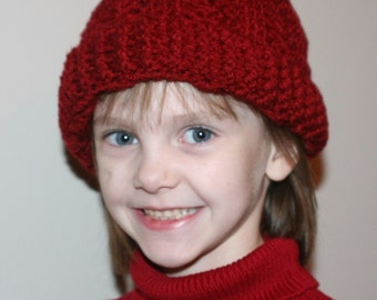 CROCHET PATTERN - The Irish Sea Minimal Slouch Beanie - For Boys or Girls ---Make adult, child or toddler