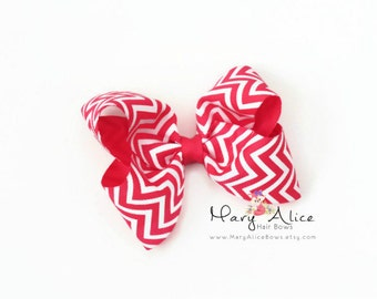 "Boutique Hair Bow- 3.5"" Girls Hair bow, pink hair bow, Butterfly hair bow, non slip hair bow, Chevron hair bow- Made to Order- Style: CTB1"