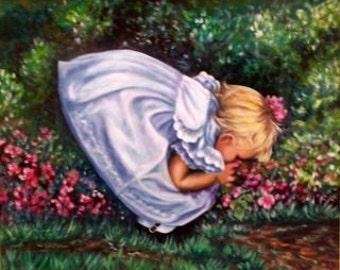 Essence of Spring, fine art giclee reproduction, flowers, little girl, original oil painting, Glenda Okiev
