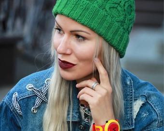 Knit Hat with fur Pom, Winter Beanies, Green Knit Beanies, Pom Pom Hats for Women, Wool Beanie, Slouchy Beanie Hat, Pom Knit Hat