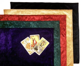 Velvet Tarot Cloth Altar Cloth Fully Lined 100% Dupioni Silk Lining Option in Black, Gold, Green, Purple, or Red Oracle Rune cloth Wicca