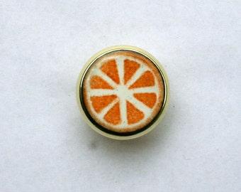 Orange Slice Enamel Drawer Knob / Handmade Kitchen Knobs / Mid Century Knob