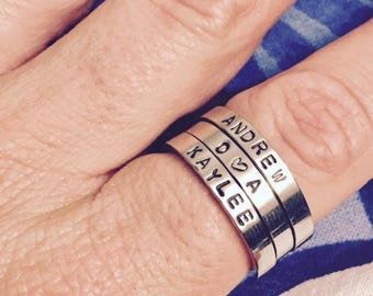 Hand Stamped Stacking Rings Mom Rings Personalized 3mm Stainless Steel