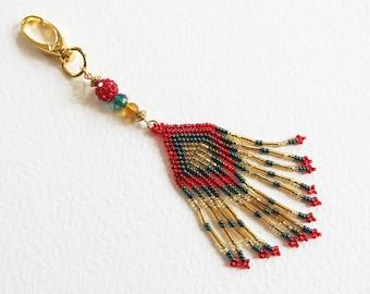 Bijou de Sac - Porte-clé Tissage de Perles - Tradition amérindienne peyote - Bijou créateur en pièce unique