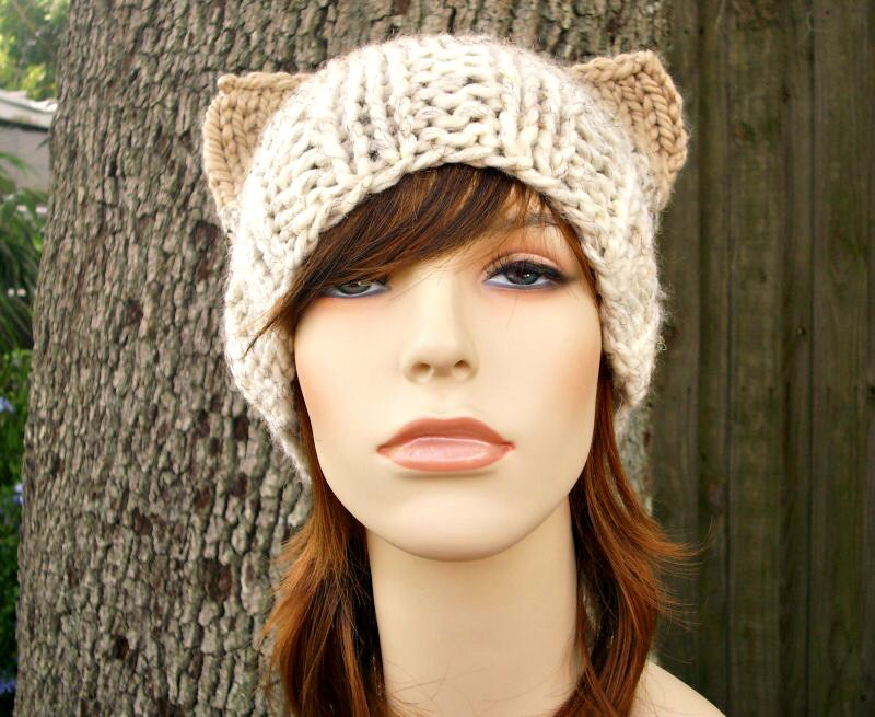 Knit Hat Womens Hat Cat Beanie Hat in Neutral Ombre Knit Hat