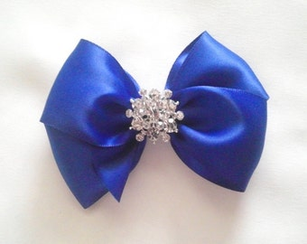Royal Blue Satin Hair Bow with Rhinestone Center, Sparkle Flower Girl Hair Bow, Holiday Hair Bow, Christmas Blue Hair Bow, Pageant Hair bow