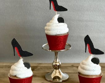 Red Bottom Cupcake Topper, Red Bottom toppers, birthday cupcake toppers, bridal shower cupcake topper, bachelorette cupcake topper,