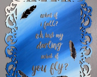 Large Wooden Sign for Children's Room / Baby's Nursery / What if I fall Quote / Poem / Hand Painted & Hand Decorated