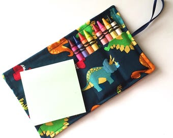 Dinosaurs Crayon Wallet holds 8 Crayons and Sticky Notes, crayon roll stocking stuffer, birthday party favors (crayons & paper not included)
