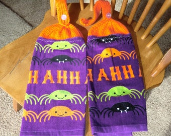 Halloween - Different Colored Spiders  Knit Top Kitchen Towels