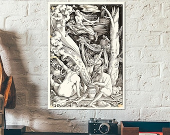 Witches' Sabbath - Old woodcut witch illustration of witches rituals at night