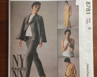 Uncut! NY NY The Collection McCall's Sewing Pattern 8781 Flared Jacket Top Pants 1997 Size 8