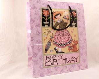 MARY ENGELBREIT Gift Bag 12.5x10.5x5 by Sunrise. Happy Birthday.