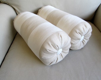 BEIGE and WHITE Stripes Bolster pillows 6x14 PAIR