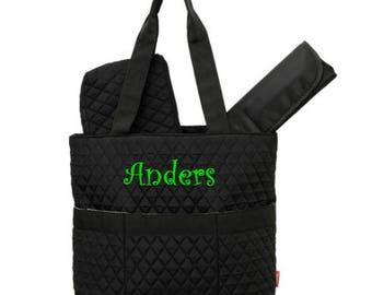 Black Diaper Bag, Zipper Pouch & Changing Pad with Monogram, Monogram Diaper Bag, Quilted Diaper Bag, Black Diaper Bag, Monogram Diaper Bag
